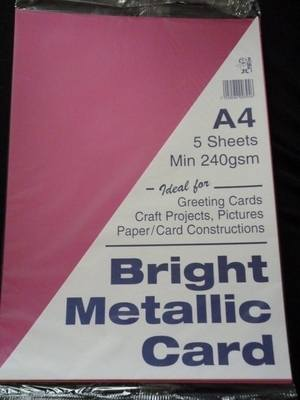 A4 BRIGHT METALLIC CARD FUSCHIA PINK MIN 240gsm 5 SHEETS.