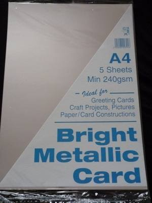 A4 BRIGHT METALLIC CARD SILVER MIN 240gsm 5 SHEETS.