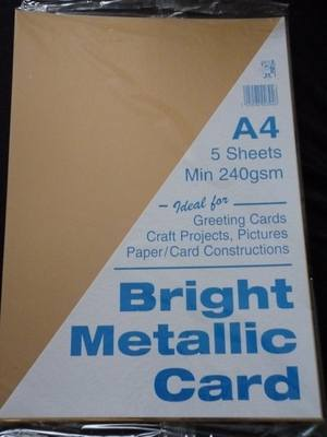 A4 BRIGHT METALLIC CARD  GOLD MIN 240gsm 5 SHEETS.