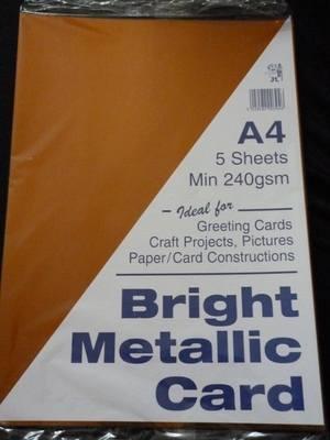 A4 BRIGHT METALLIC CARD BRONZE MIN 240gsm 5 SHEETS.