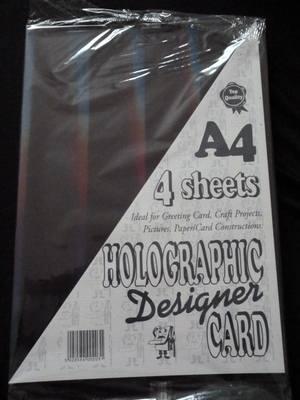 A4 HOLOGRAPHIC DESIGNER CARD DARK BLUE/BLACK 4 SHEETS.
