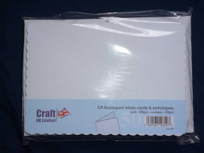 Card & Envelope pks C6 White Scalloped pk of 50 cards-300gsm,env-100gsm  line no 837