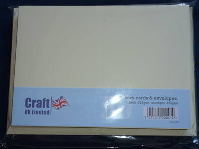 Card & Envelope pks C6 Ivory pk of 50 cards-225gsm, env-100gsm  line no 275