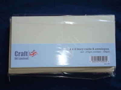 Card & Envelope pks 4x4 Ivory pk of 50 cards-250gsm,env-100gsm  line no 997