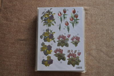 DECOUPAGE FLORAL MULTI PANSIES AND TULIPS 000748