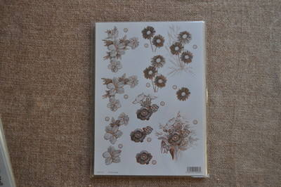 DECOUPAGE FLORAL BRONZE OUTLINED FLOWERS F120