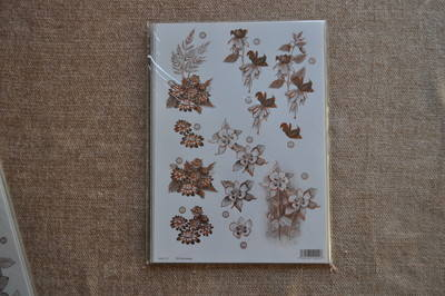 DECOUPAGE FLORAL BRONZE OULTINED PANSY F121