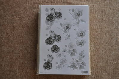 DECOUPAGE FLORAL SILVER LINED PANSY AND DAISY BUNCH F113