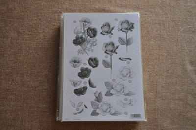 DECOUPAGE FLORAL SILVER OULTINE ROSE/POPPY F112