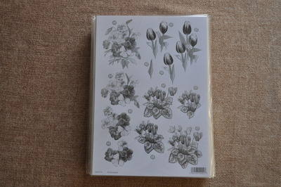 DECOUPAGE FLORAL SILVER LINED TULIP/PANSY BUNCH F114