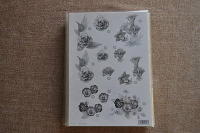 DECOUPAGE FLORAL SILVER LINED PANSY BUNCHES F115
