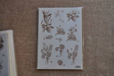DECOUPAGE FLORAL SILVER LINED FLOWERS BUNCHES F123
