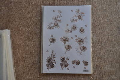 DECOUPAGE FLORAL SILVER LINED FLOWERS F124