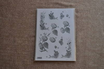 DECOUPAGE FLORAL SILVER LINED FLOWERS F125