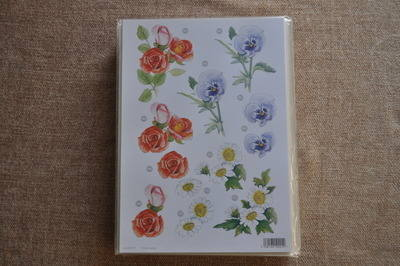DECOUPAGE FLORAL BLUE PANSY/RED ROSE 000113