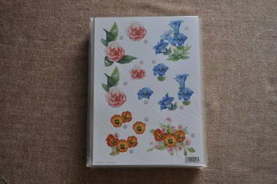 DECOUPAGE FLORAL ORANGE PANSY /BLUE FLOWER 000115