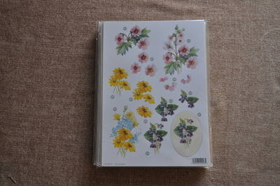 DECOUPAGE FLORAL PINK/YELLOW FLOWERS 000118