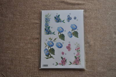 DECOUPAGE FLORAL BLUE FLOWERS 000125