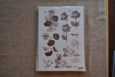 DECOUPAGE FLORAL BRONZE OUTLINE ROSES AND POPPY'S F112