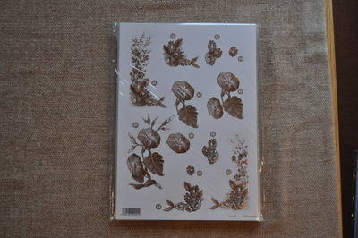 DECOUPAGE FLORAL BRONZE OUTLINED FLOWER BUNCHES F125