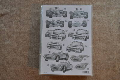 DECOUPAGE RALLY/F1 CARS BLACK AND WHITE 704