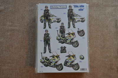 DECOUPAGE POLICEMAN AND BIKE 723