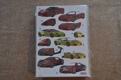 DECOUPAGE SPORTS CARS FERRARI/BUGGATI METALLIC FINISH 786