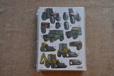 DECOUPAGE MENS TRACTOR/DIGGER METALLIC FINISH 788