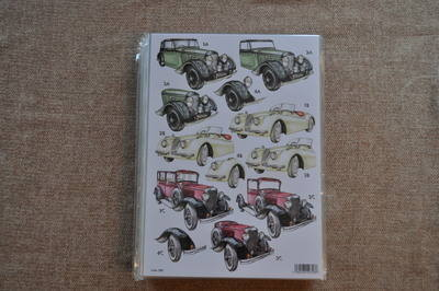 DECOUPAGE MENS OLD STYLE CARS 789