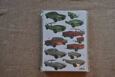 DECOUPAGE MENS RED CADILLAC/GREEN SPORTS CAR METALLIC FINISH 792.