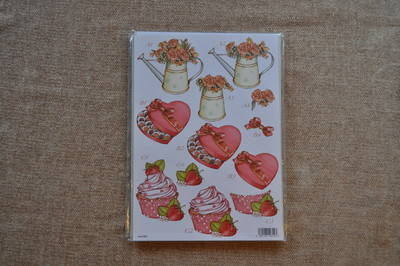 DECOUPAGE WOMENS CHOCS/CUPCAKE/FLOWERS 852.