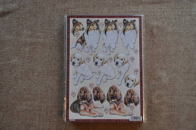DECOUPAGE DOGS COLLIE /LABRADOR PUPPY 616.