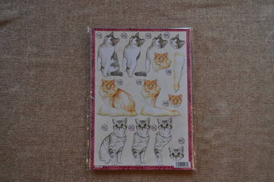 DECOUPAGE CATS GINGER/GREY AND WHITE 622.
