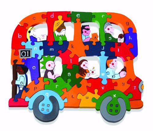 Wooden Jigsaw - Alphabet Bus