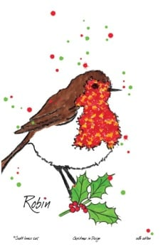 Christmas Robin Tea Towel by Scott Inness