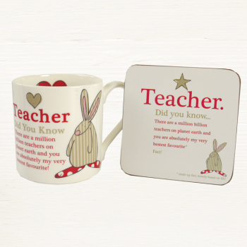 Rufus Rabbit - Teacher Mug & Coaster Set