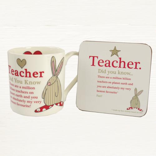 Rufus Rabbit - Teacher Mug & Coaster Set