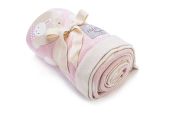 Mimmo Knitted Blanket in soft pink and white