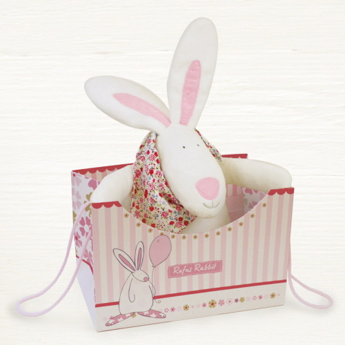 Rufus Rabbit Sensory Soft Toy in pink