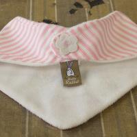 Pretty pink Dribble Bib from Rufus Rabbit - felt flower detail