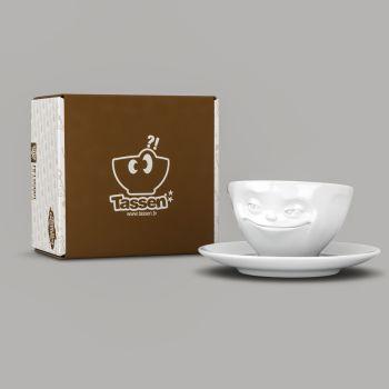 Espresso Cup - White Porcelain 'Grinning' by Tassen