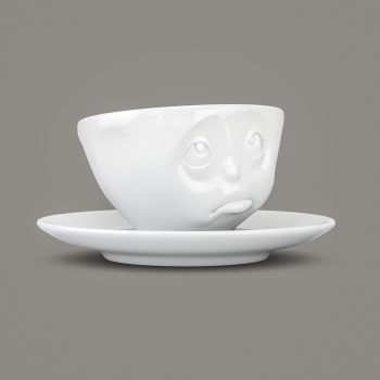Espresso Cup - White Porcelain 'Oh Please' by Tassen