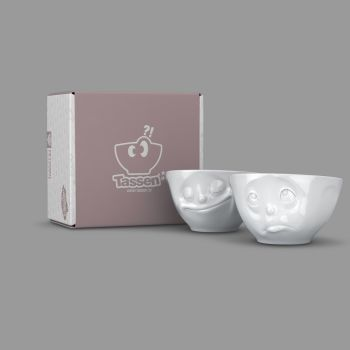 'Happy' and 'Oh Please' White Porcelain Bowl Set (200ml x 2) by Tassen
