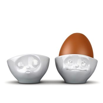 White Porcelain Egg Cups (2) 'Kissing' & 'Dreamy'