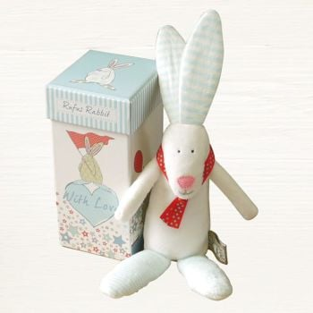 Rufus Rabbit - Boy Rabbit Rattle with a Gift Box