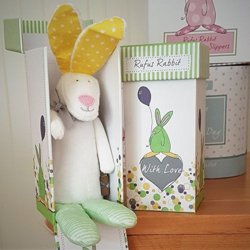 Rufus Rabbit - Girl's  Rabbit Rattle with a Gift Box