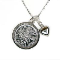 Silver Necklace with a Lucky Sixpence and a Heart Charm