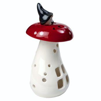 Gnome on a Mushroom Lantern 14cm