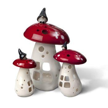 Gnome on a Mushroom Lantern 17cm