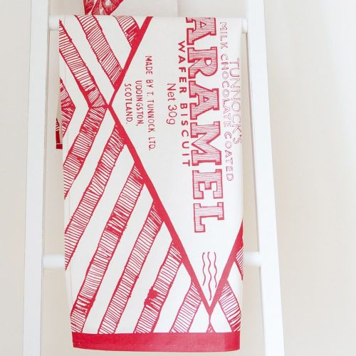 Tunnocks Caramel Wafer Wrapper Tea Towel